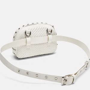 Zara Bags - Zara white braided crossbody belt bag